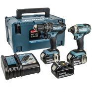 Makita DLX2131JX1 18V Li-ion 2 Piece Combi Drill & Impact Driver Set DHP482 DTD152 + 3x 3.0Ah Batteries  Boston Lincolnshire