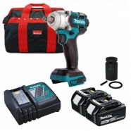 "Makita DTW285TX2 18V Brushless 1/2"" Scaffolding Impact Wrench with 2x 5.0Ah Batts, 21mm Socket & Bag"