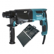 Makita HR2611F 110V Rotary Hammer Drill with D-21200 Chisel Set