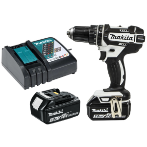 Makita DHP482RFWJ LXT 18V Li-ion White Cordless Combi Drill with 2x 3.0Ah Batts, Charger & Makpac Carry Case